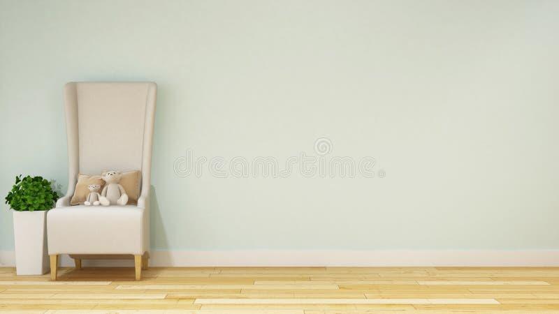 Teddybär in der Kinderraum- oder -Wohnzimmerpastellart - renderin 3d stockfoto