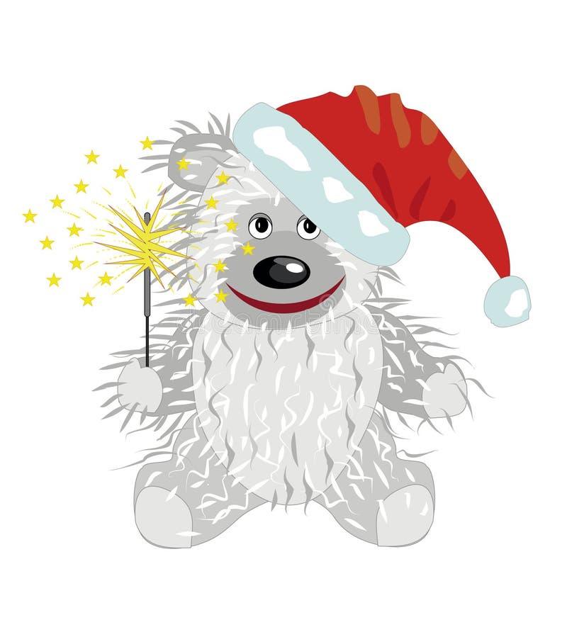 Teddybär in der Schutzkappe von Weihnachtsmann stock abbildung