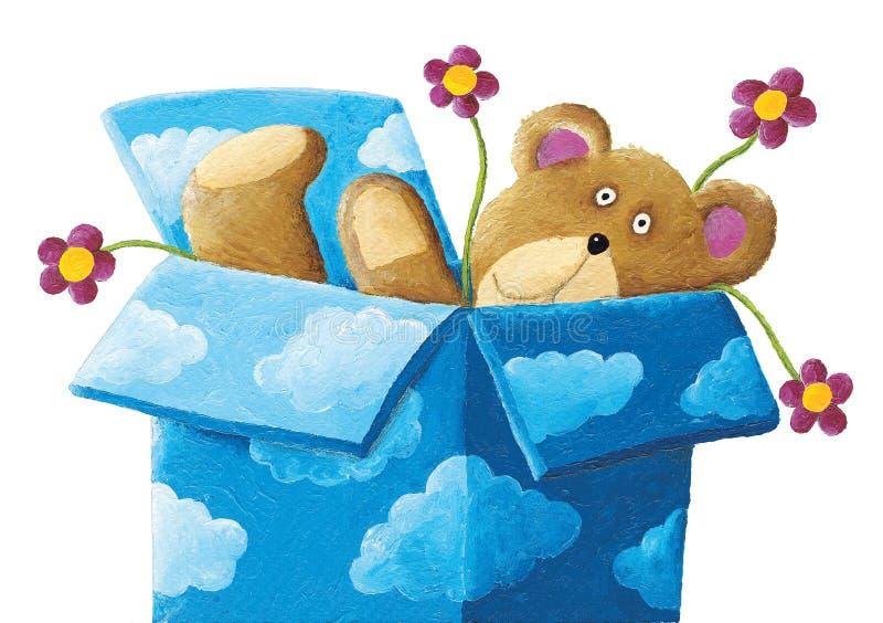 Teddybär in einem blauen Kasten mit Wolken und Blumen vektor abbildung