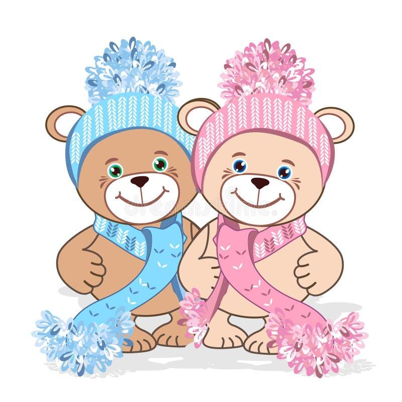 Teddybär in einer Strickmütze lizenzfreie abbildung