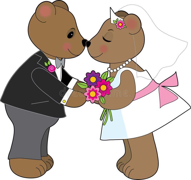 Teddybär-Hochzeit stock abbildung