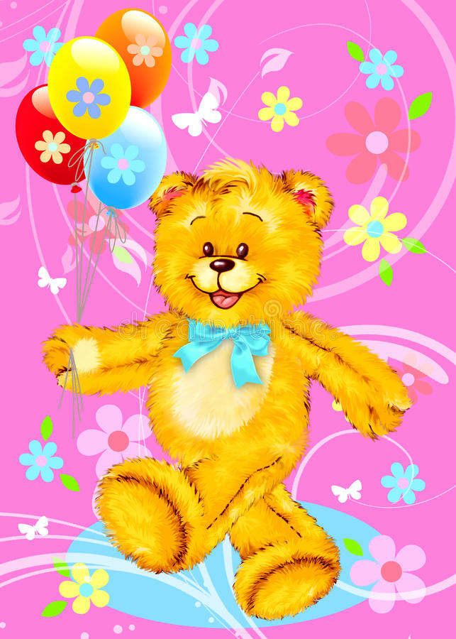 Teddybär mit Ballonen vektor abbildung