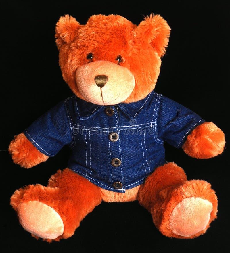 Teddybär mit blauem Denimhemd lizenzfreies stockfoto
