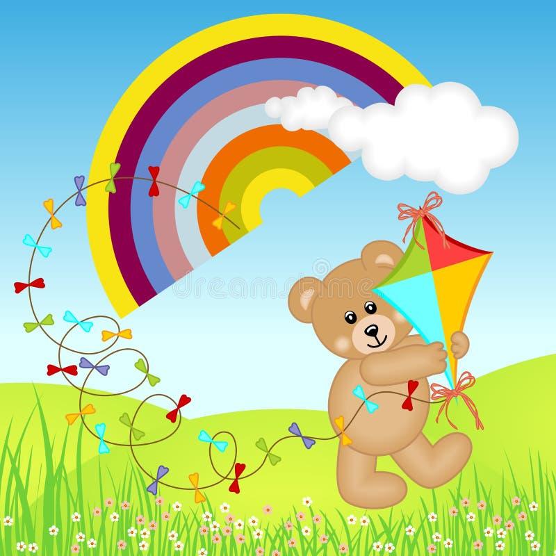 Teddybär mit Drachen-Wind auf Regenbogen stock abbildung
