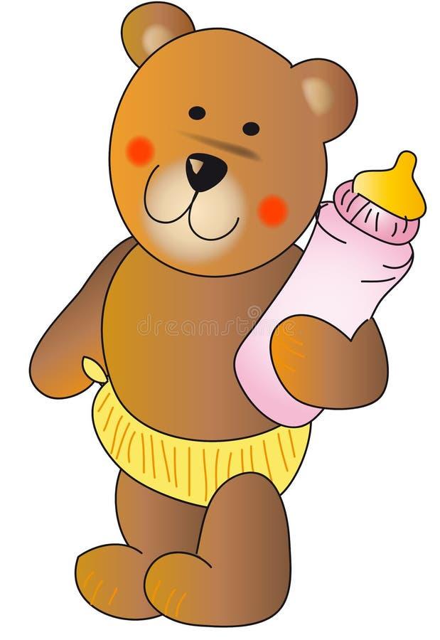 Teddybär mit einer Schätzchenflasche stock abbildung