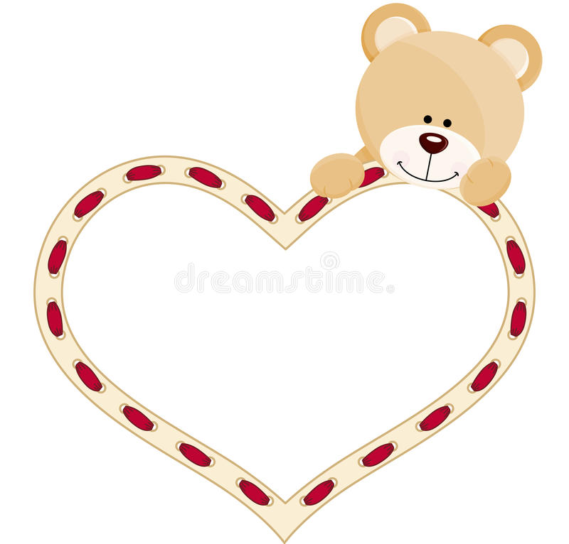 Teddybär mit Herzen lizenzfreie abbildung