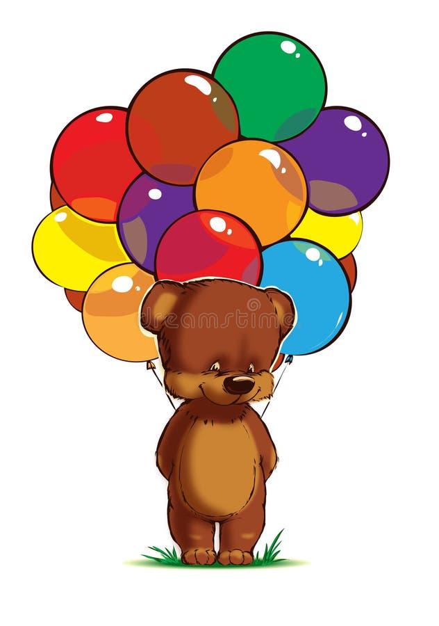Teddybär mit mehrfarbigen Ballonen auf weißem Hintergrund stock abbildung