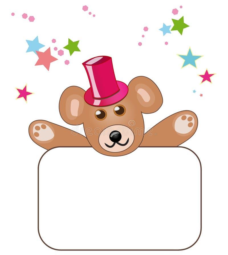 Teddybär mit unbelegtem Zeichen lizenzfreie abbildung