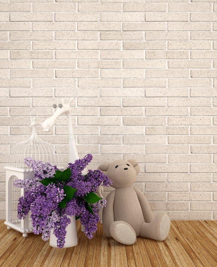 Teddybär mit Vase des Purpurs und Vogelkäfig im Kinderraum für Grafik - Wiedergabe 3D lizenzfreie stockfotos
