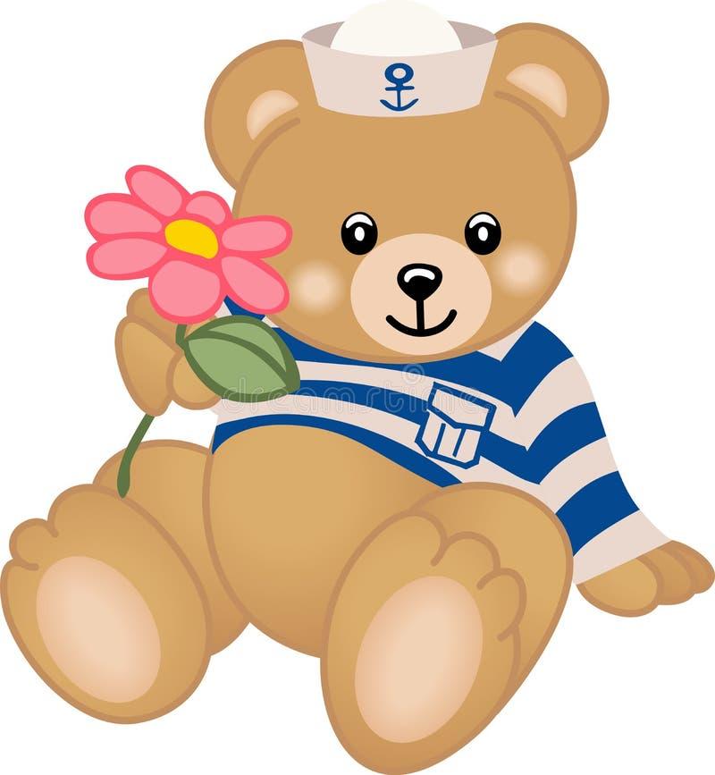 Teddybär-Seemann bietet Blume an lizenzfreie abbildung
