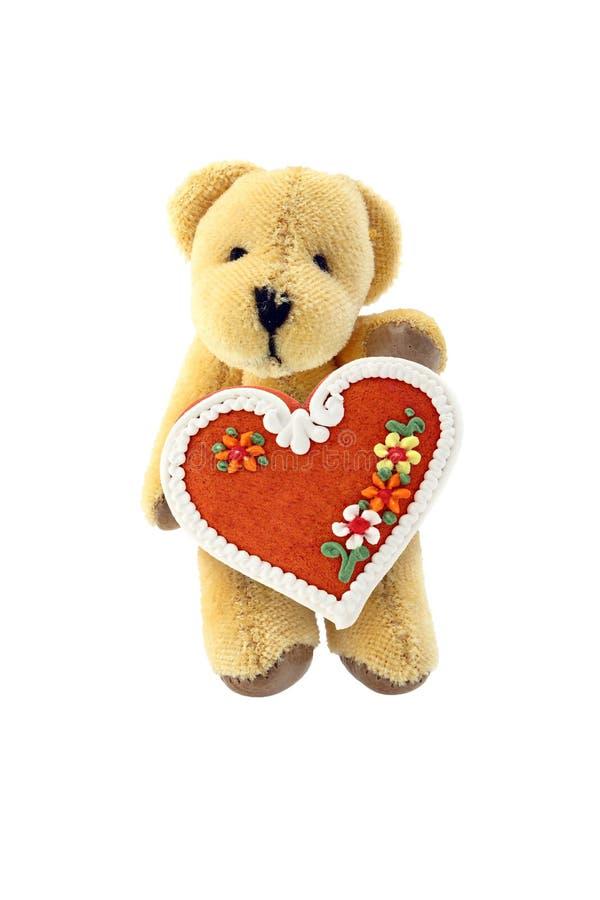 Teddybär-tragen Sie mit dem Lebkucheninneren, das auf Whit getrennt wird lizenzfreie stockfotos