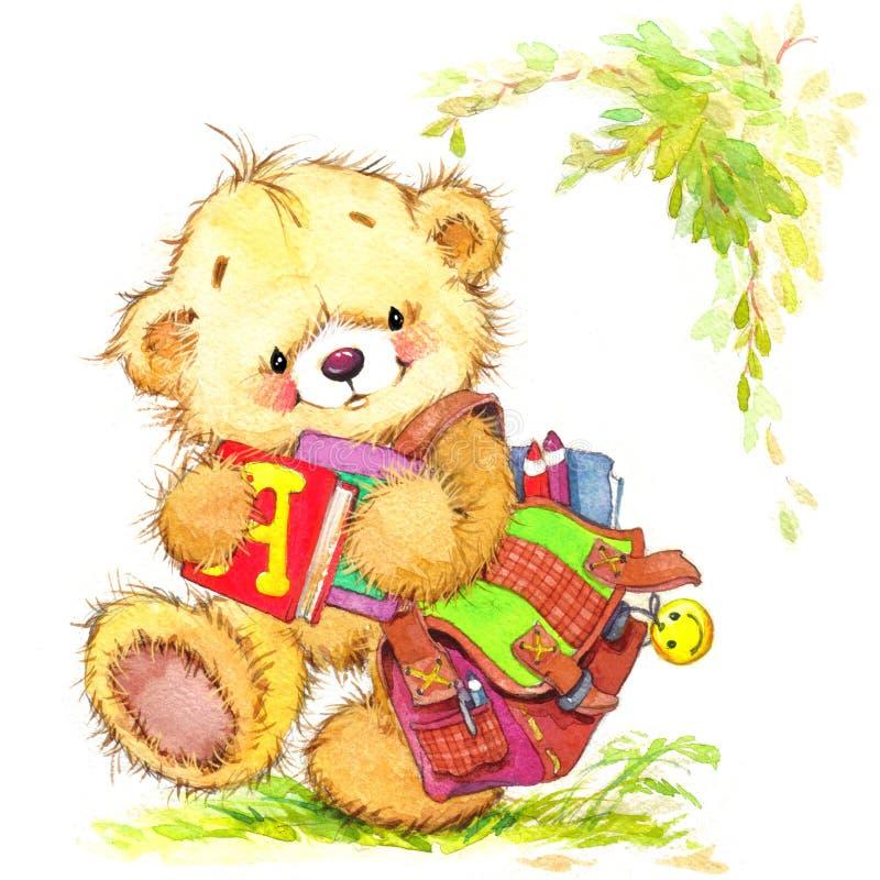 Teddybär- und Schulhintergrund lizenzfreie abbildung