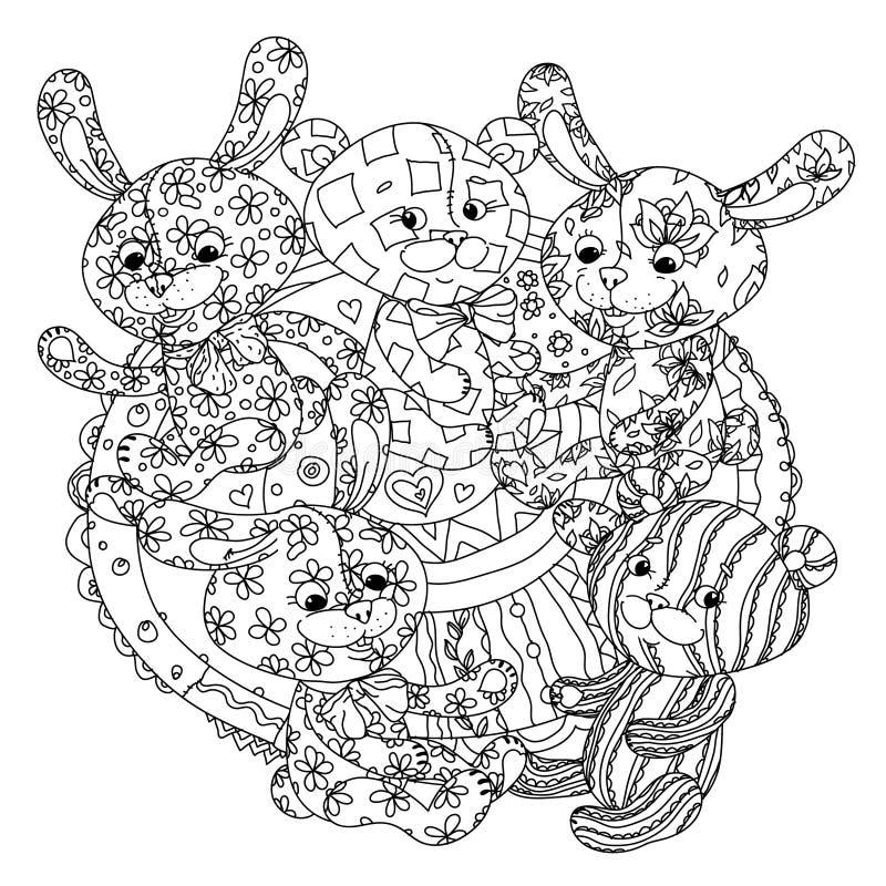 Teddybären Und Häschen Für Malbuch Vektor Abbildung - Illustration ...