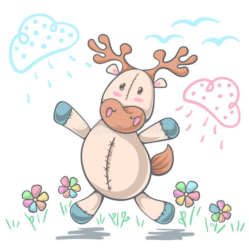 Teddybärrotwildliebe - lustige Illustration der Karikatur lizenzfreie abbildung