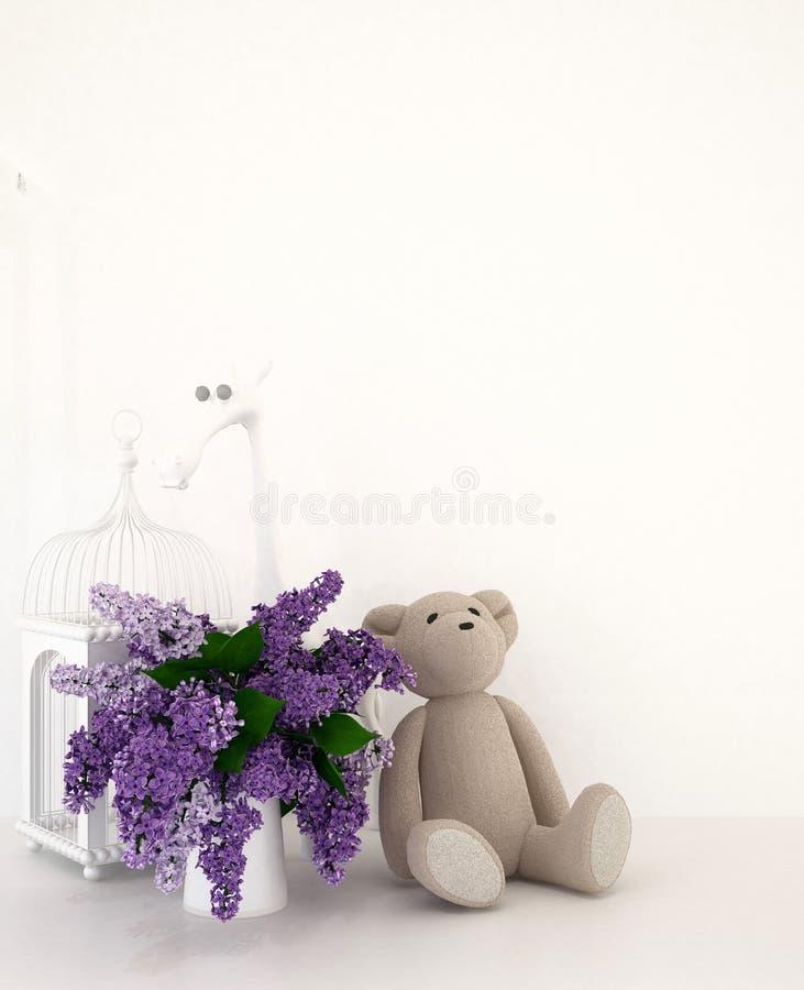 Teddyb?r mit Vase des Purpurs und Vogelk?fig im Kinderraum f?r Grafik - Wiedergabe 3D stockbilder
