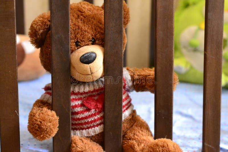 Teddybear在小儿床,在儿童的题材的一张照片坐,在儿童的卧室,室内设计,逗人喜爱的蓬松熊 免版税库存照片
