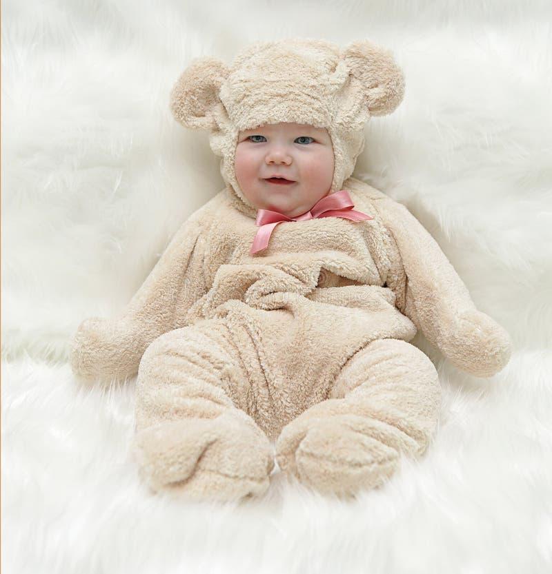 teddybear的婴孩 免版税库存照片