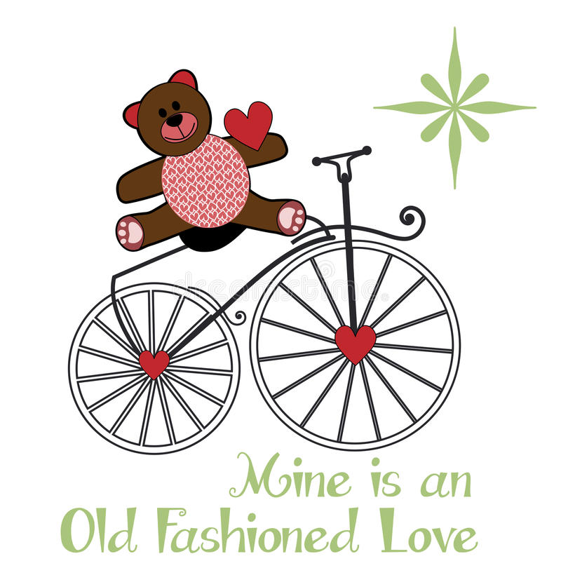 Teddybear συνεδρίαση βαλεντίνων σε ένα παλαιό ποδήλατο μόδας απεικόνιση αποθεμάτων