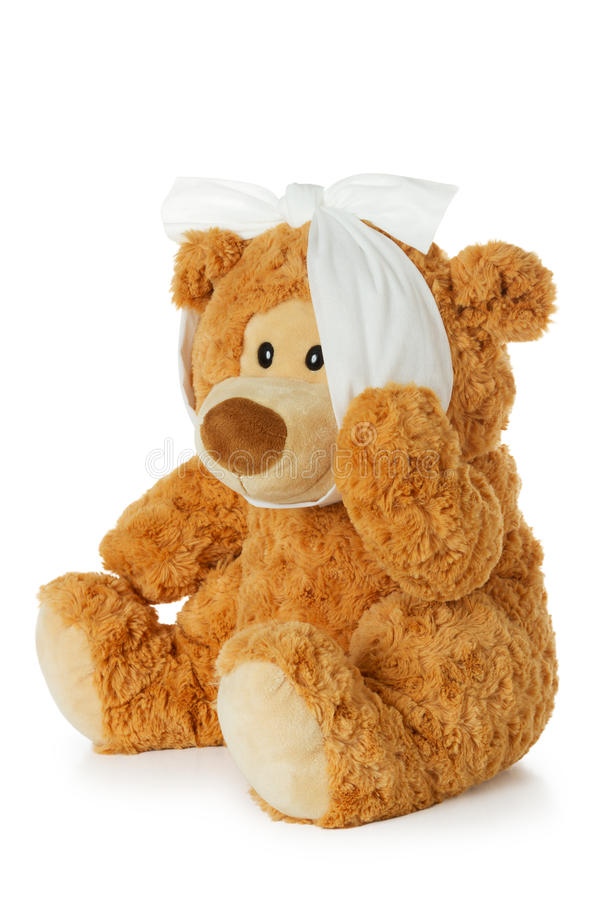 Teddybear avec le mal de dents image stock
