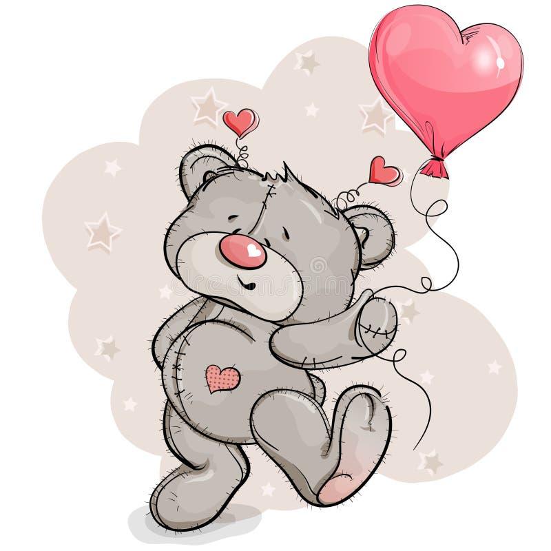 Teddybeer blije sprongen met een ballon in zijn hand royalty-vrije stock afbeeldingen