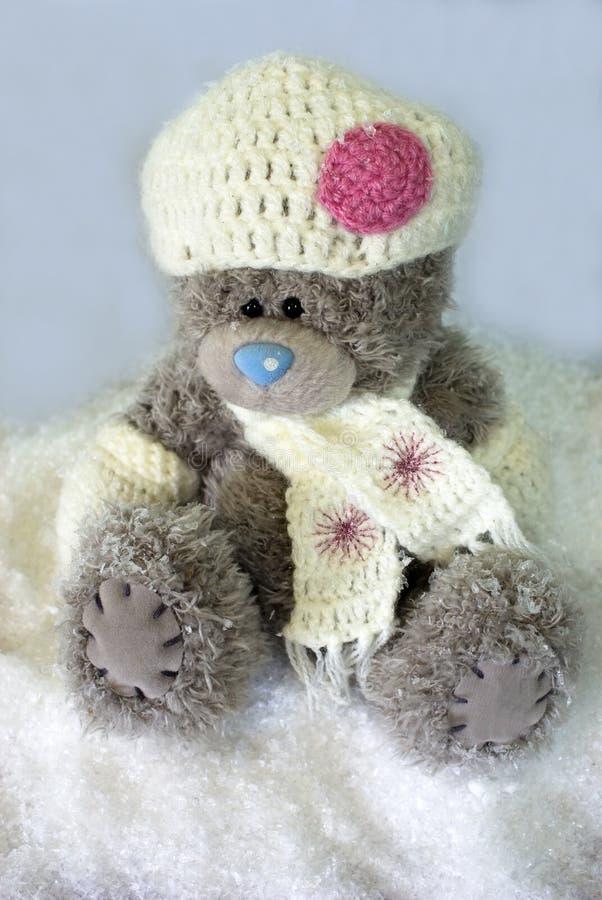 Teddybeer in de sneeuw royalty-vrije stock fotografie