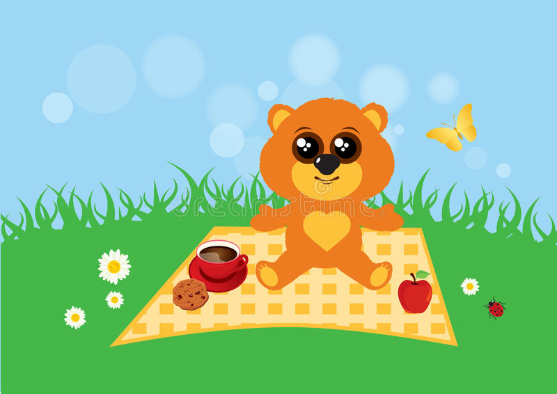 Teddybeer in de weidevector vector illustratie