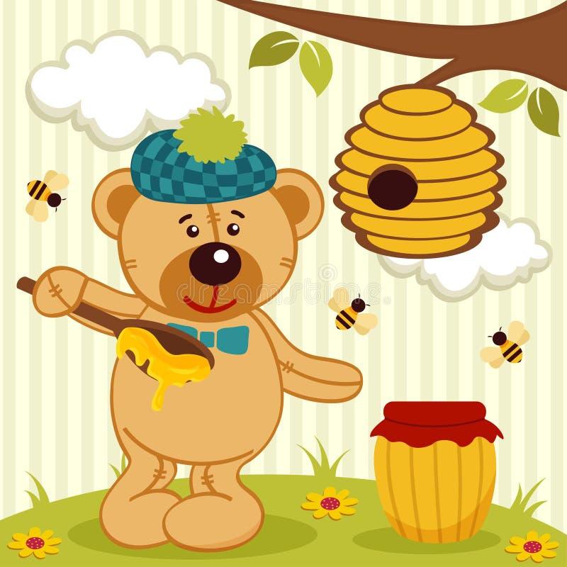 Teddybeer dichtbij bijenkorf stock illustratie