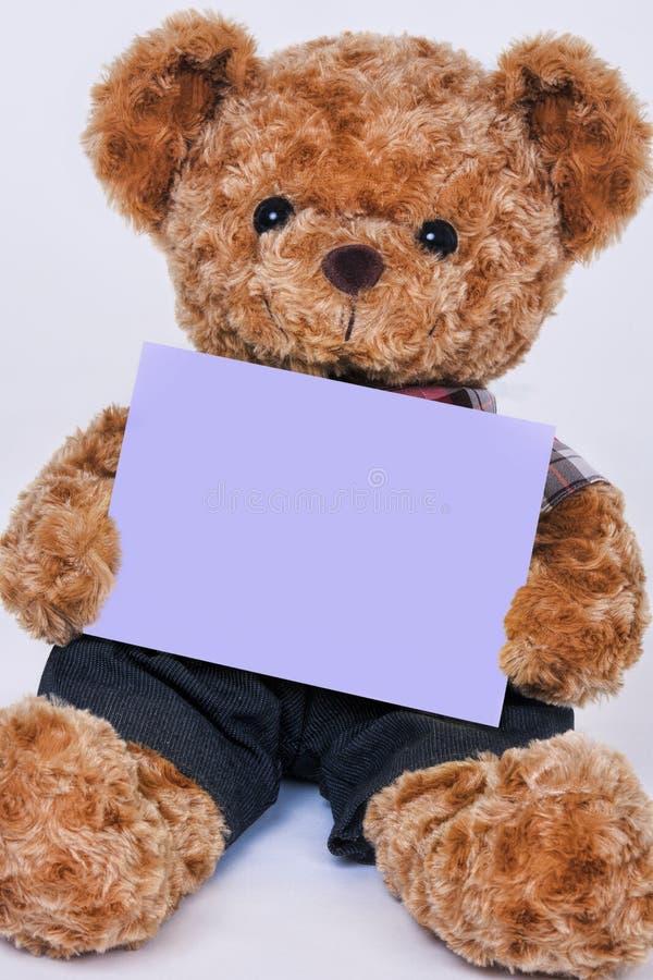 Teddybeer die een leeg purper die teken houden op witte backgro wordt geïsoleerd stock foto