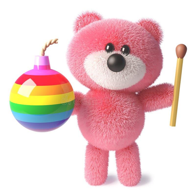 Teddybeer die met zacht roze pluizig bont een gelijke en regenboogbom, 3d illustratie houden royalty-vrije illustratie