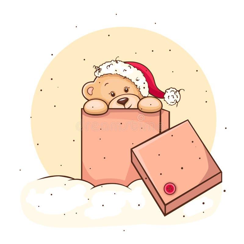 Teddybeer in doos vector illustratie