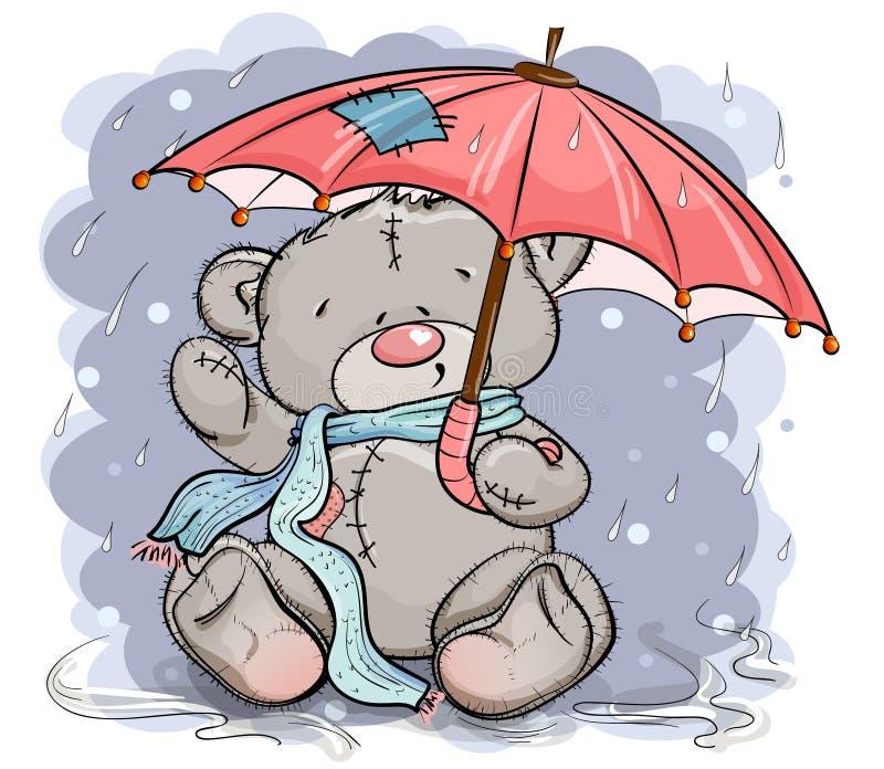 Teddybeer in een sjaalzitting onder een paraplu stock afbeelding