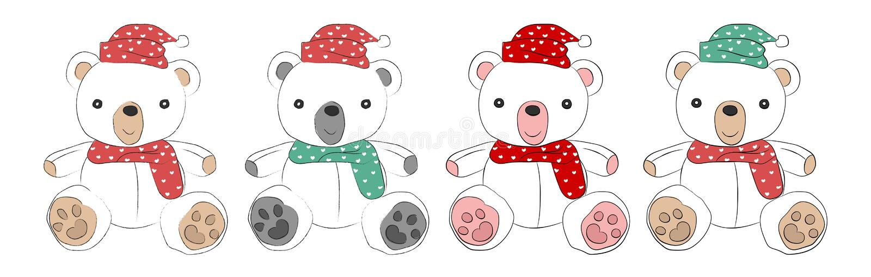Teddybeer, geïsoleerde hand op witte achtergrond, Krabbel wordt getrokken die vect royalty-vrije illustratie