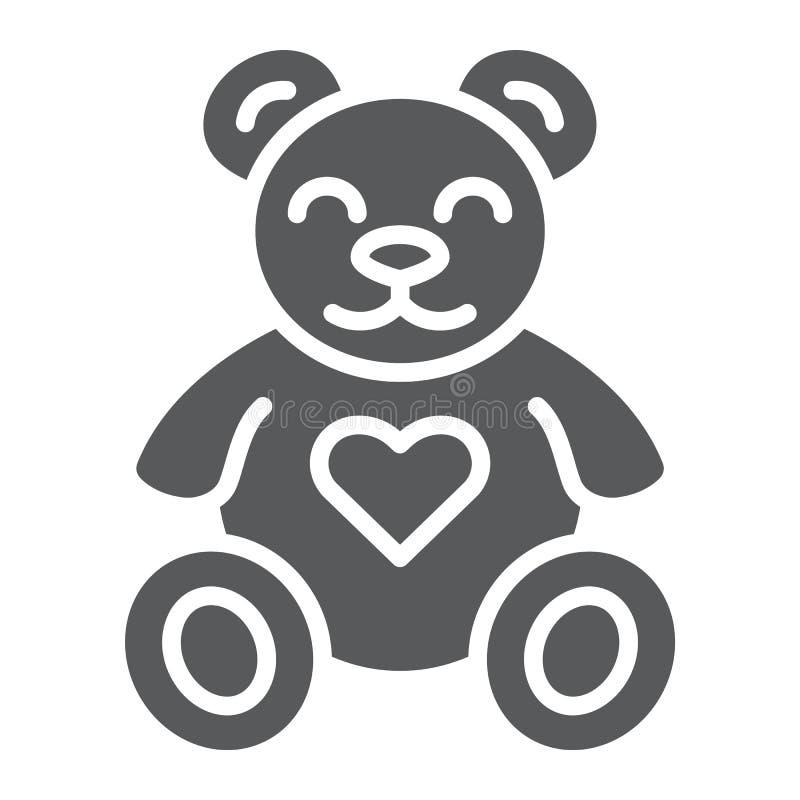 Teddybeer glyph pictogram, dier en kind, pluchestuk speelgoed teken, vectorafbeeldingen, een stevig patroon op een witte achtergr vector illustratie