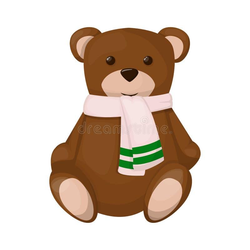 Teddybeer leuke bruine stuk speelgoed van de de giftpop van de kinderjaren dierlijke baby het karakter vectorillustratie stock illustratie