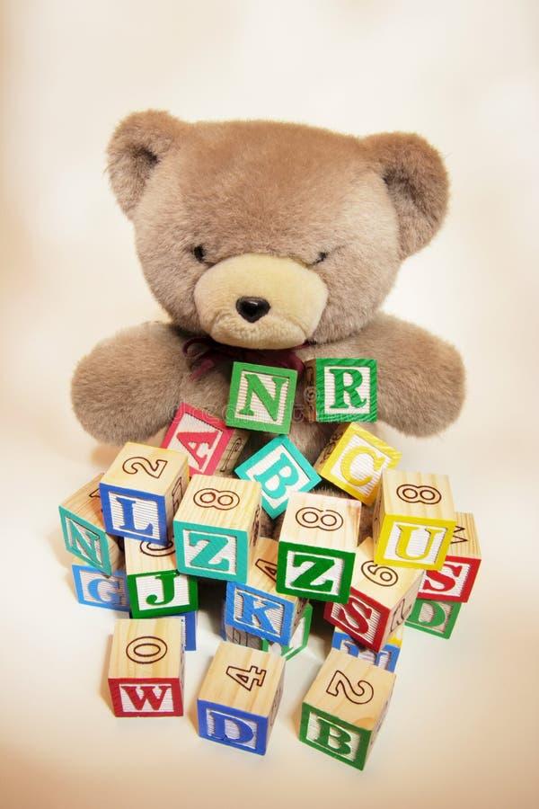 Teddybeer met de Blokken van het Alfabet stock foto's