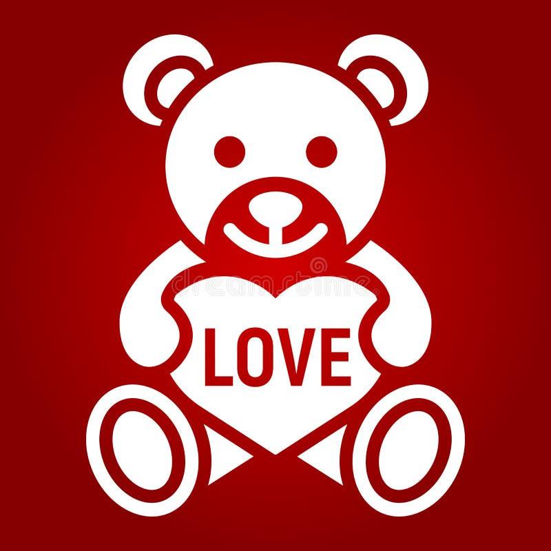 Teddybeer met hart glyph pictogram, valentijnskaartendag royalty-vrije illustratie