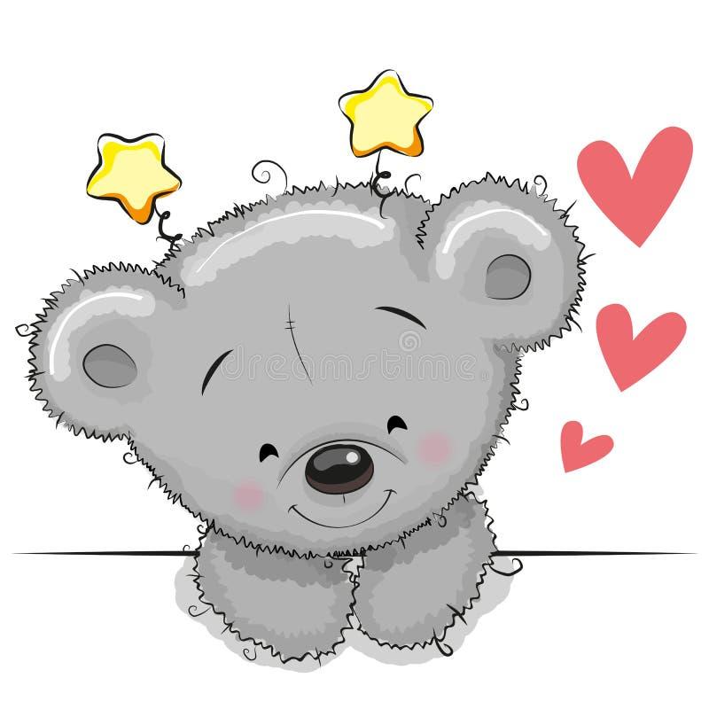 Teddybeer met harten stock illustratie