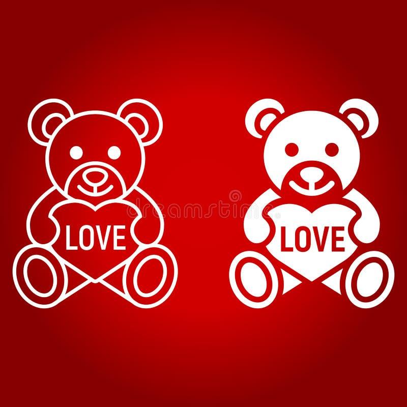 Teddybeer met hartlijn en glyph pictogram stock illustratie