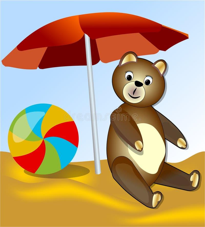 Teddybeer met het rusten op het overzees onder de rode paraplu stock illustratie