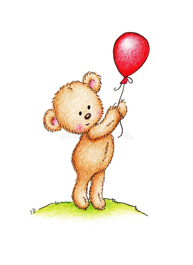 Teddybeer met rode ballon stock illustratie