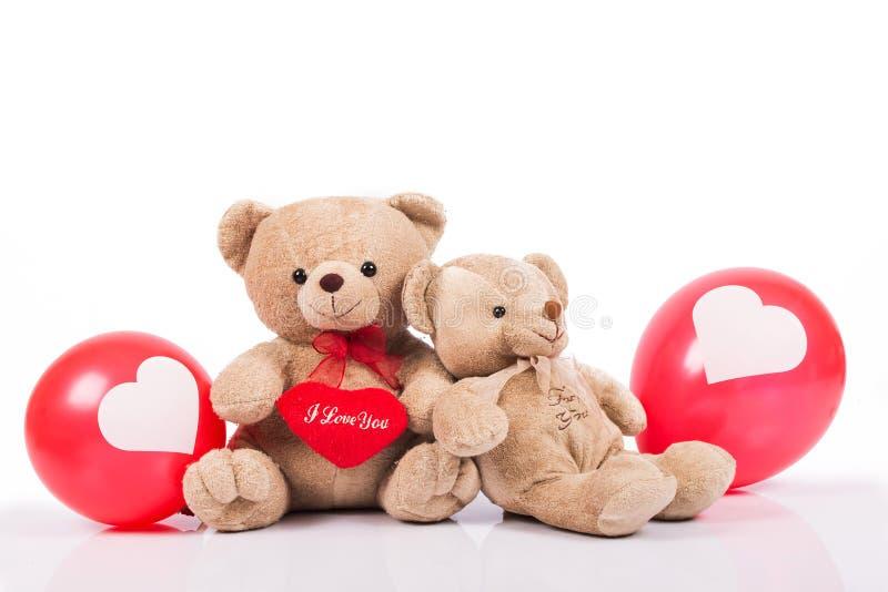 Teddybeer met rode ballon royalty-vrije stock afbeeldingen