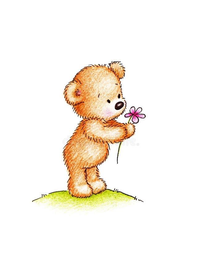 Teddybeer met roze bloem vector illustratie