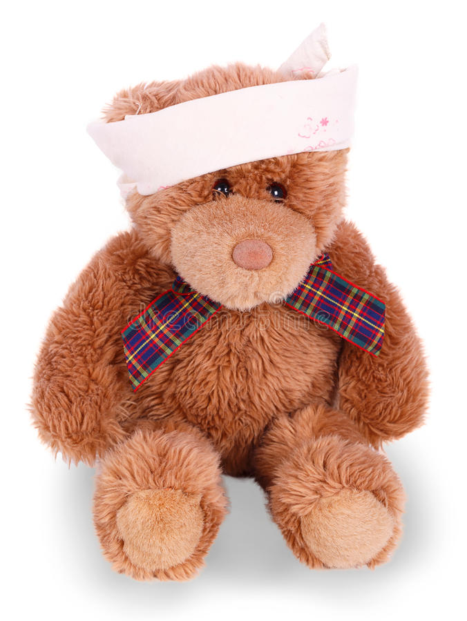 Teddybeer met verbonden hoofd stock afbeelding