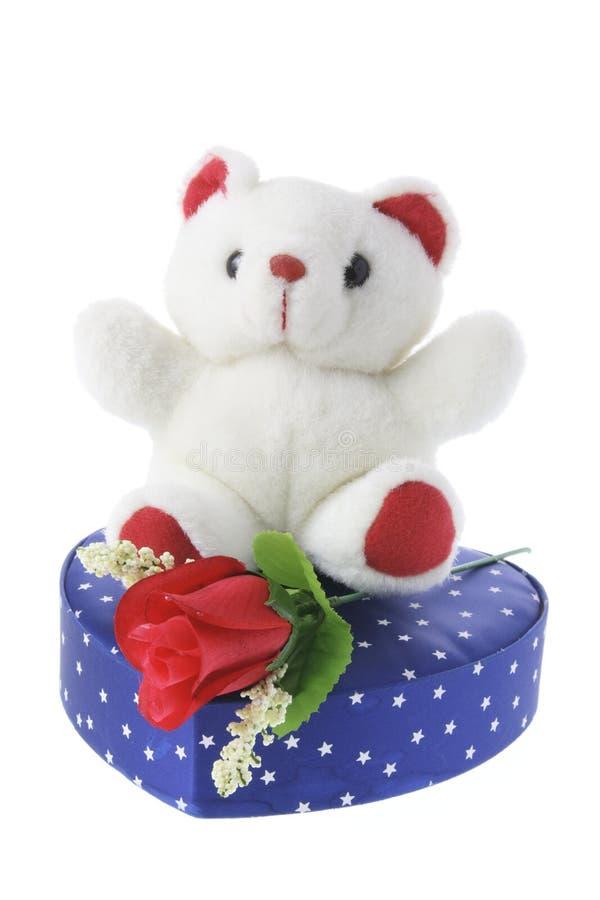Teddybeer op de Doos van de Gift stock foto