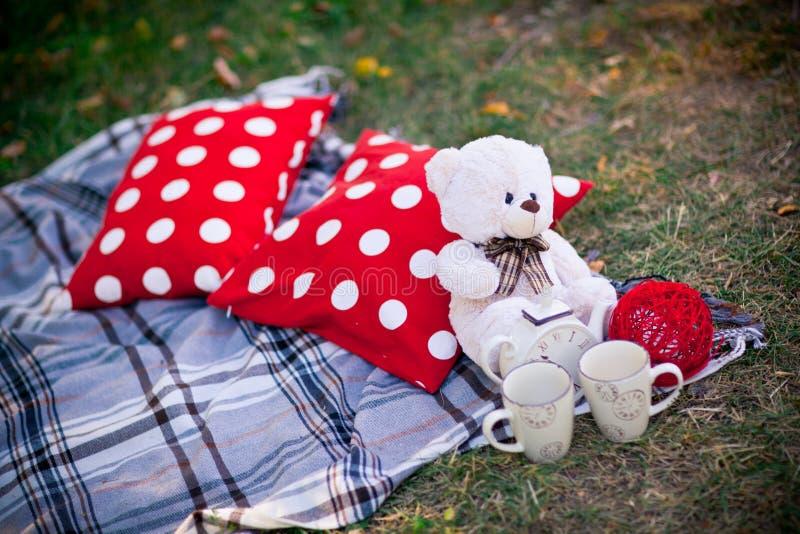 Teddybeer op het gras royalty-vrije stock afbeelding
