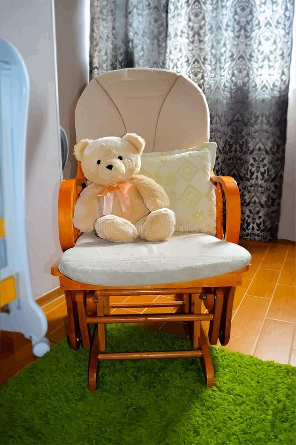 Teddybeer in schommelstoel - vectoreps10 royalty-vrije stock foto