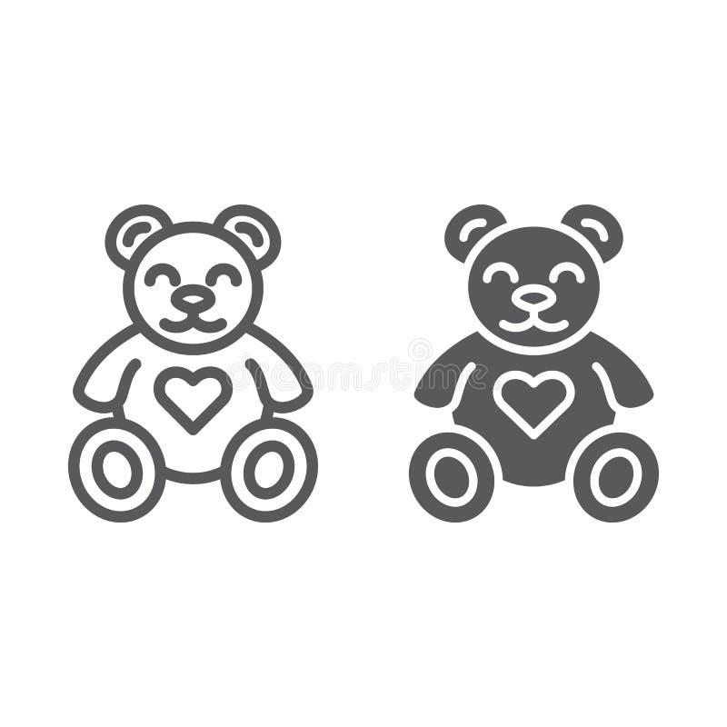 Teddybeerlijn en glyph pictogram, dier en kind, pluchestuk speelgoed teken, vectorafbeeldingen, een lineair patroon op een wit royalty-vrije illustratie