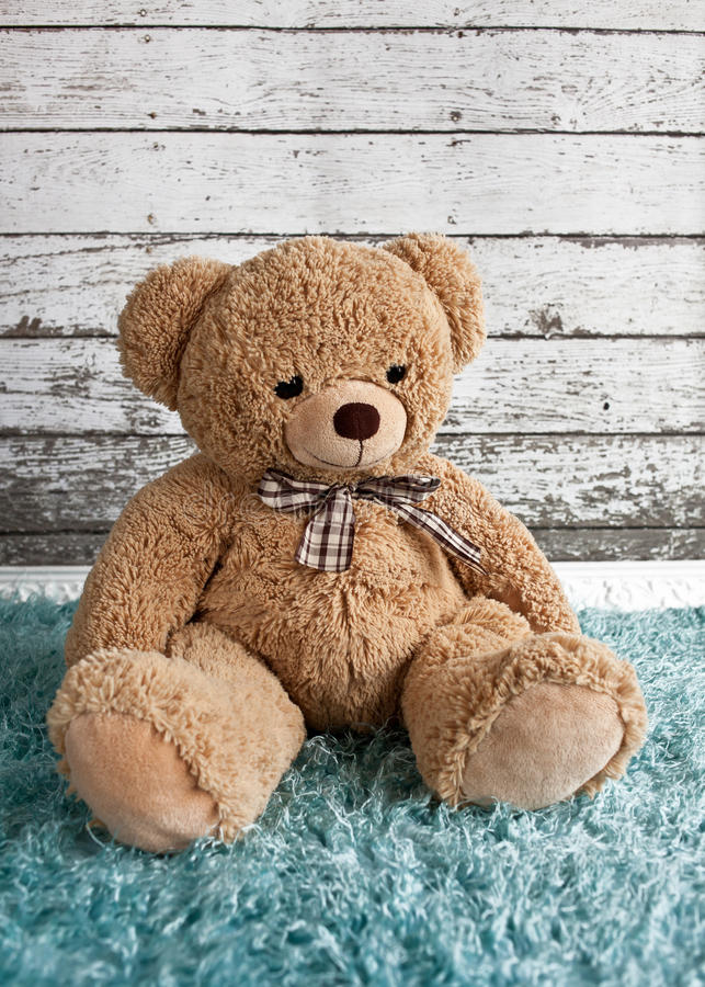 Teddybeerzitting op een pluizige deken royalty-vrije stock afbeelding