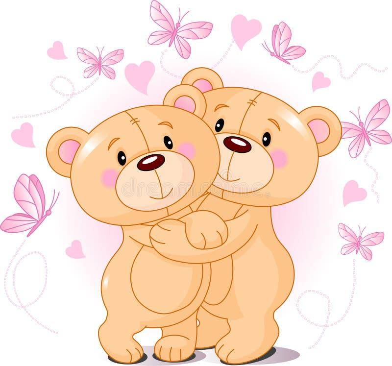 Teddyberen in liefde stock illustratie