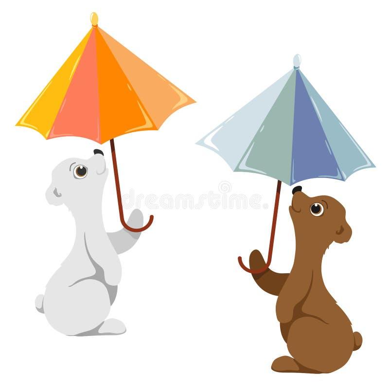 Teddyberen met paraplu's Het wit en bruin draagt vector illustratie